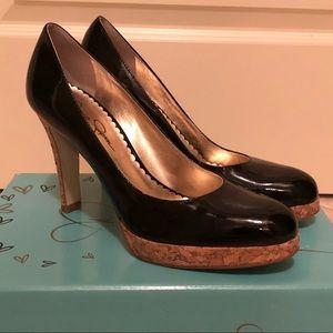 Jessica Simpson patent leather cork heel pumps